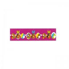 Ruban rose décor cirque de Pâques 16 mm x 20 m - à l'unité