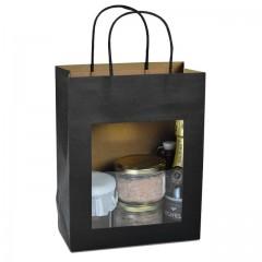 Grand sac kraft noir à poignées torsadées avec fenêtre 22 + 11 x 28 cm - par 12