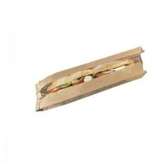 Sac sandwich kraft brun à fenêtre 10 x 4 x 36 cm - par 1000