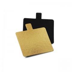 Carré avec languette or/noir 4 x 4 cm - par 200