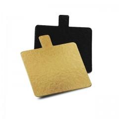 Carré avec languette or/noir 9 x 9 cm - par 200