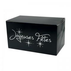 """Boîte à bûche """"Joyeuses Fêtes"""" noire 25 x 11 x 11 cm - par 25"""
