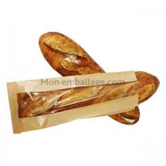 Sac à pain kraft brun avec fenêtre 18 x 4 x 35 cm (2 baguettes)- par 1000