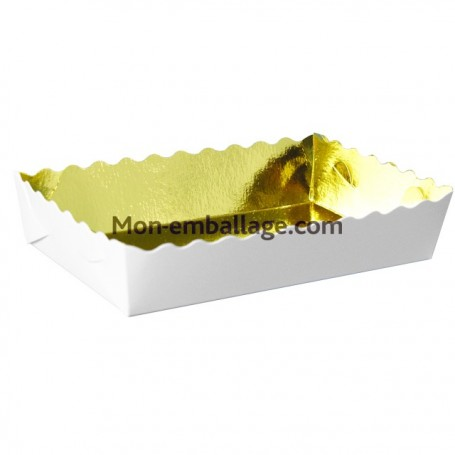 Caissette dentelée or 19 x 12 x 3,5 cm - paquet de 250