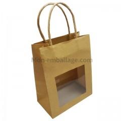 Petit sac brun avec fenêtre 11,5 x 6,5 x 14,7 cm et poignées cordelières - par 25