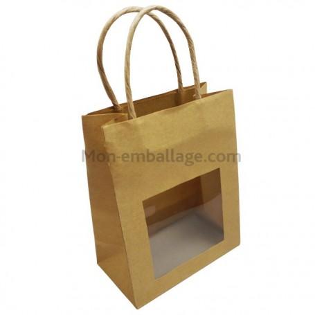 Petit sac kraft avec fen tre et poign es ficelles 11 5 x 6 for Sac kraft fenetre