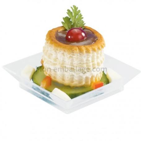 Verrine assiette carrée transparente 60 x 60 mm - par 50