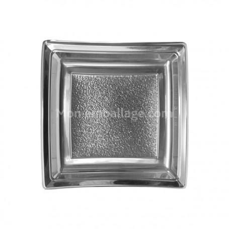 Assiettes carrées argent 18,5 cm en plastique - par 25