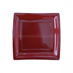 Assiettes carrées bordeaux 18,5 cm en plastique - par 50