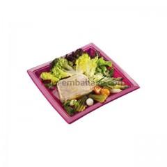 Assiettes carrées fuschia 18,5 cm en plastique - par 50