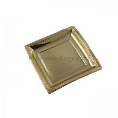 Assiette carrée or 18,5 cm en plastique - par 25