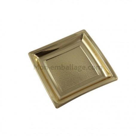 Assiettes carrées or 18,5 cm en plastique - par 25