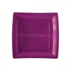 Assiettes carrées prunes 18,5 cm en plastique - par 50