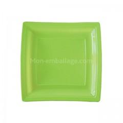 Assiettes carrées vertes anis 18,5 cm en plastique - par 50