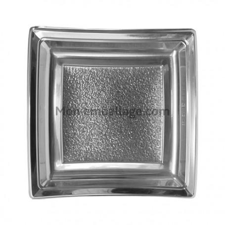 Assiette carrée argent 24 cm en plastique - par 25