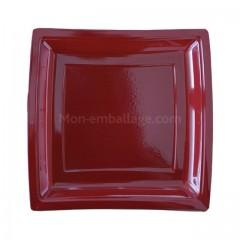 Assiette carrée bordeaux 24 cm en plastique - par 50