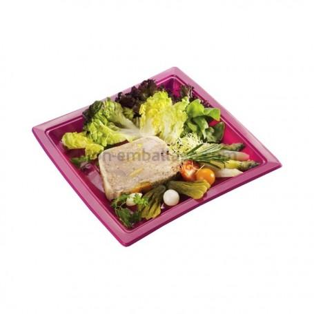 Assiette carrée fuschia 24 cm en plastique - par 50