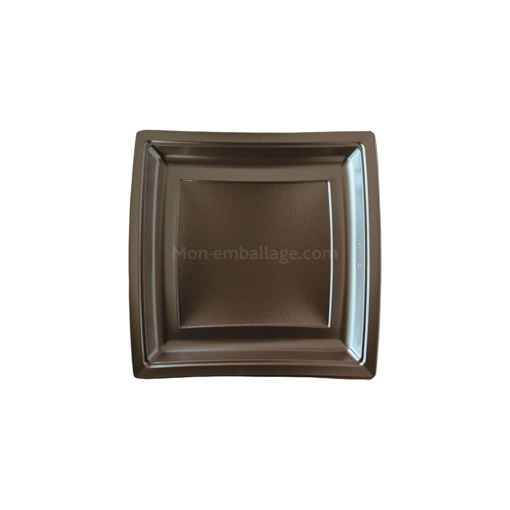 assiette carr e marron 24 cm en plastique. Black Bedroom Furniture Sets. Home Design Ideas