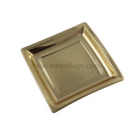 Assiette carrée or 24 cm en plastique - par 25