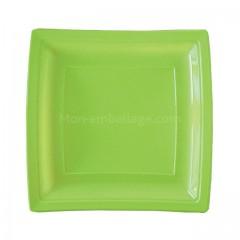 Assiette carrée verte anis 24 cm en plastique - par 50
