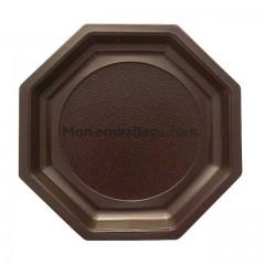 Assiette plastique octogonale 18,5 cm marron - par 50