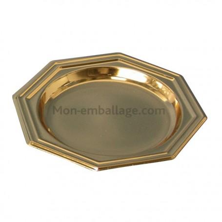Assiette plastique octogonale 18,5 cm or