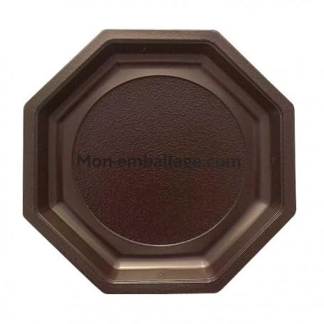 Assiette plastique octogonale marron 24 cm