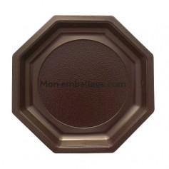 Assiette plastique octogonale marron 24 cm - par 400