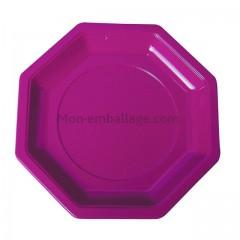 Assiette plastique octogonale prune 24 cm - par 400