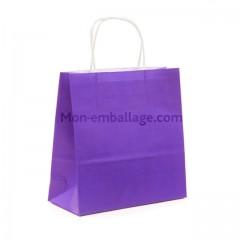 Sac cabas violet à poignées torsadées 23 x 12 x 30 cm - par 50