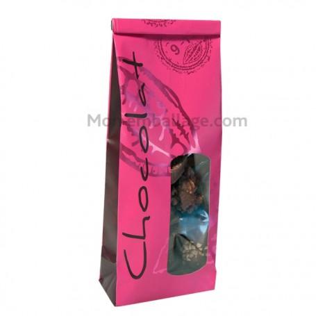Sachet SOS papier 8,5 x 5 X 24 cm rose et marron - par 50