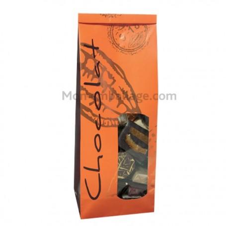 Sachets sos papier 70+40x200 mandarine / chocolat