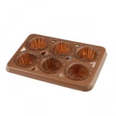 Plaque 6 caissettes mini-muffins (19,3x13,5)