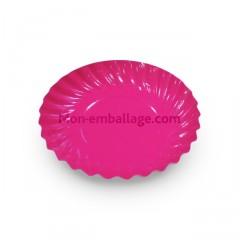 Petite assiette carton fuchsia diamètre 88 mm - par 100