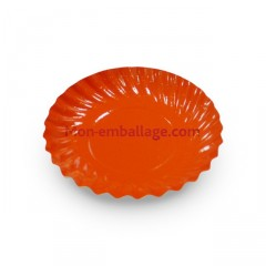 Mini assiettes carton 88mm rondes orange