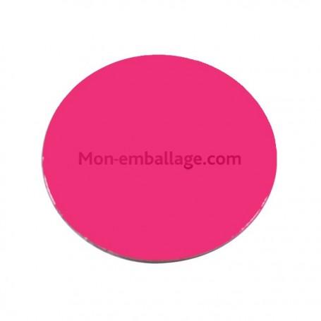 Rond carton ingraissable 20 cm rose / noir - par 50