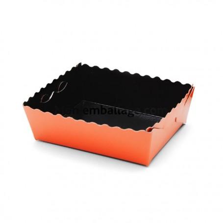 Caissette dentelée ingraissable orange / noire 13 x 9 x 3,5 cm - par 50