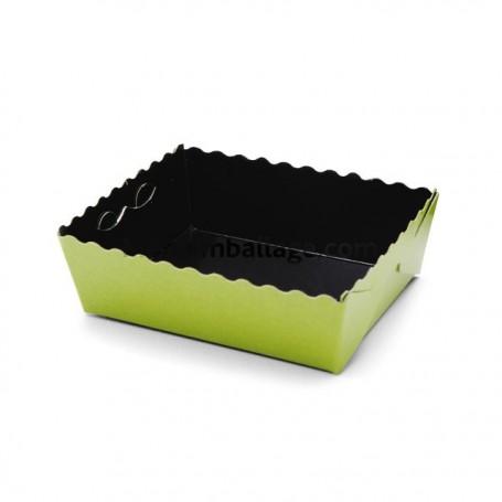 Caissette dentelée ingraissable verte / noire 13 x 9 x 3,5 cm - par 50