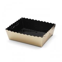 Caissette dentelée ingraissable or / noire 16 x 10 x 3,5 cm - par 50