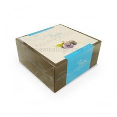Boîte pâtissière bleue 16 x 16 x 5 cm décor TEMPO - par 50