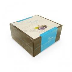 Boîte pâtissière bleue 16 x 16 x 8 cm décor TEMPO - par 50
