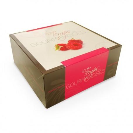 Boîte pâtissière rose 18 x 18 x 8 cm décor TEMPO - par 50
