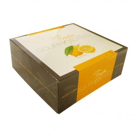 Boîte pâtissière jaune 20 x 20 x 5 cm décor TEMPO - par 50