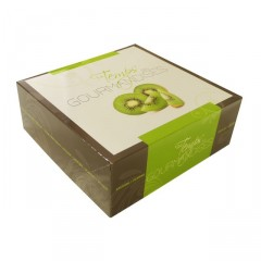 Boîte pâtissière verte 23 x 23 x 5 cm décor TEMPO - par 50