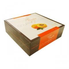 Boîte pâtissière orange 25 x 25 x 8 cm décor TEMPO - par 50