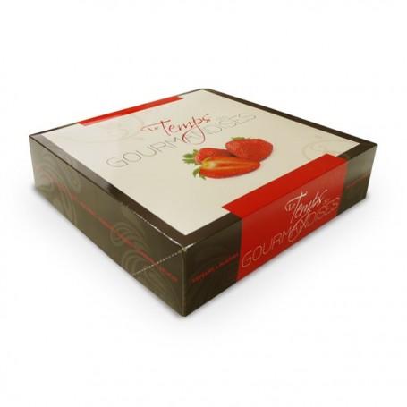 Boîte pâtissière rouge 32 x 32 x 8 cm décor TEMPO - par 50