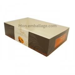 Caissette pâtissière orange 20 x 13 x 5 cm décor TEMPO - par 100