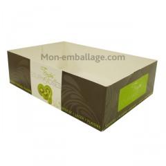 Caissette pâtissière verte 18 x 12 x 5 cm décor TEMPO - par 100