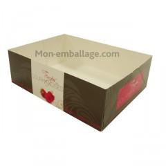 Caissette pâtissière rose 16 x 12 x 5 cm décor TEMPO - par 100
