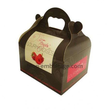 Boîte pâtissière rose avec poignée 12 x 10 x 7 cm décor TEMPO - par 50